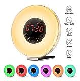 Despertador Digital Alarma de Reloj Amanecer y Atardecer LED Wake Up Light Lámpara de Mesa Cama Luz Nocturna, Sonidos Naturales, Función Sleep, Radio FM (6 colores, control táctil)