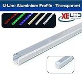 2Meter u-line Aluminium Profil mit Transparent Diffusor für flexible LED Strip Beleuchtung