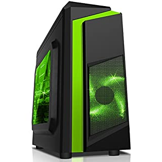 CiT F3 Micro-ATX PC Gaming Case, MATX & ITX Motherboard Support, Windowed Side Panel, Excellent Airflow, Space For 4 Cooling Fans, SD/TF Card Reader Built-In, 2 x 120mm Green LED Fans Included | Black / Green Stripe