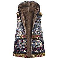 Abrigo de Invierno con Capucha para Mujer, Palangre Vintage Abierto Abrigo De Invierno con De Lana Caliente Blusa Tops Chaqueta Sueter