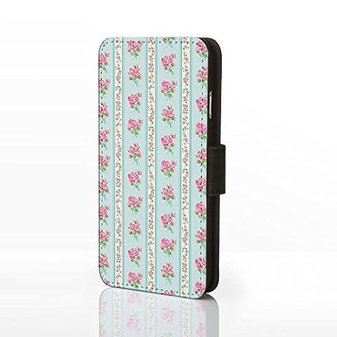 iCaseDesigner Étui à rabat en similicuir pour iPhone Motif floral Style shabby chic vintage, Cuir synthétique, Design 12: Pink Roses on light Blue Stripe Background, iPhone 5C