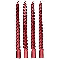 4 Piezas Tealight Velas - 8 Pulgadas Taper Espiral Trenzado Largo Velas para Cena Mesa de Comedor Fiesta de Boda Decoración de Casa Vela (8 x 0.78 Pulgadas, Rojo)