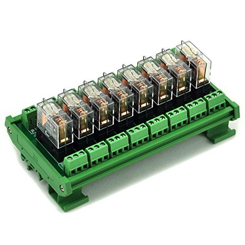 Electronics-Salon DIN Rail Mount 8 SPDT 16 A Power Relay Interface Modul, Omron G2R-1-E DC12 V Relais. -