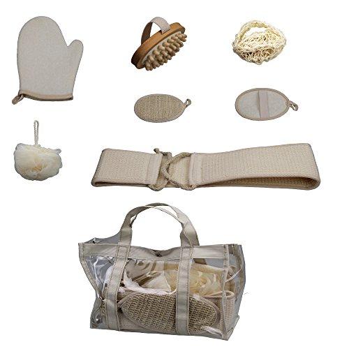 Badeset Bambus 7 teilig in Tasche 23 x 32cm Wellness Entspannung Set Badeset aus Naturmaterialien (Sisal-waschlappen)