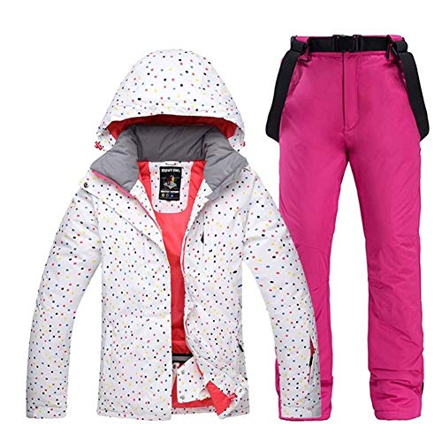 ZHANGFL Bunter weibliche Snow Anzug Set Damen Snowboard Bekleidung Winter Outdoor Sport wasserdicht Ski-Jacken + Schnee Gurthosen (Size : L)