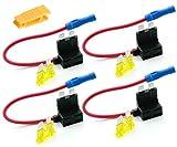 INIBUD 4stk Autosicherungen Stromdieb Stromabgreifer Stecksicherung Steck Sicherung Verteiler Flachsicherungsadapter (4stk - inkl. 20A Sicherung und Sicherungszieher)