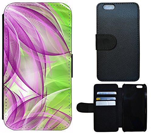 Schutz Hülle Flip Cover Handy Tasche Etui Case für (Apple iPhone 4 / 4s, 1290 See Berge Panorama) 1292 Abstract Grün Lila