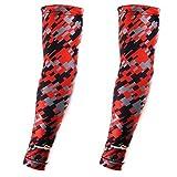 COOLOMG Arm Sleeves Armwärmer Ärmlinge Kompression Bandage Rutschfest Anti UV Running Radsport für Damen Herren 1 Paar Camo Rot XS