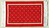 Miniatur Teppich, reines Polyester für Krippe, Puppenhaus Wendeteppich rot 5x8cm