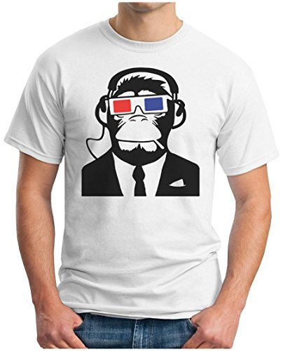 OM3™ - Monkey Full HD 3D - T-Shirt Ape AFFE HDTV Consumer Kino Indie Music Emo Geek Punk Rock Swag, 4XL, Weiß