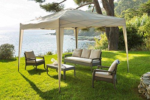 Pavillon/ Gartenlaube /Veranstaltungzelt - 3 x 3 m - zusammenklappbar - sandfarben - aus...