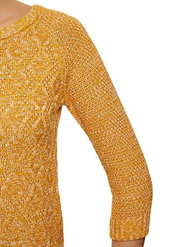 oodji Ultra Damen Pullover mit Geometrischem Muster und 3/4-Ärmeln Gelb (5210M)