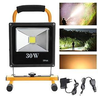Hengda® 30W Warmweiß Akku LED Fluter Außen leuchte IP65 Strahler ragbare Wiederaufladbare Camping Lampe