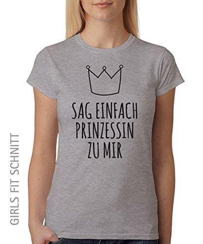 ::: SAG EINFACH PRINZESSIN ::: Girls T-Shirt Sports Grey, Größe (Disney Kostüme Für Frauen Einfach)
