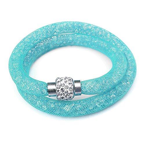 Damen-Armband Netzschlauch türkis zweireihig Glitzerkristallen u. Shamballa Kugel Netzoptik Armband