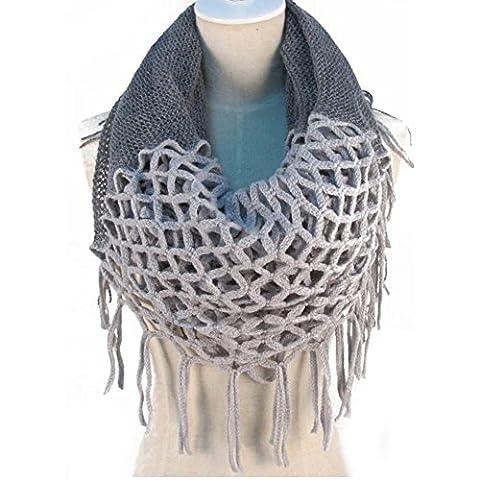 Hiver chaud Crochet Knit Long Pompon doux Wrap Châle Écharpe écharpes deux styles Infinity et droite gris