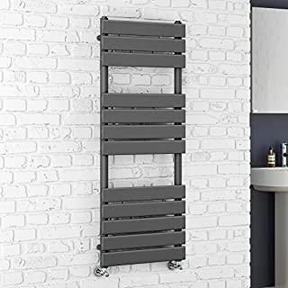 iBathUK | 1200 x 450 Anthracite Flat Panel Heated Towel Rail Bathroom Radiator RA1200450