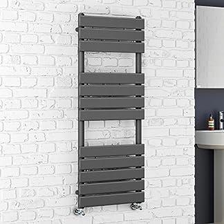 Soak Radiador toallero de 1200 x 450 con acabado de antracita y paneles planos