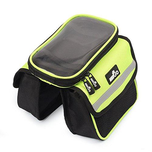 VAIIGO Fahrrad Rahmen tasche Wasserdicht Touchscreen Bike Satteltasche Fahrradtasche Bike Top Tube Taschen Zubehör, grün (Herren Brieftaschen Sattel)