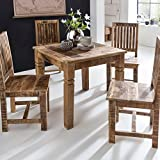 FineBuy Esstisch RUSTI 80 x 80 x 76 cm Mango Massivholz Quadratisch | Küchentisch Rustikal | Design Holz Esszimmertisch | Tisch Esszimmer für 4 Personen Echtholz