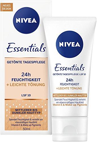 Nivea Essentials Tagespflege 24h Feuchtigkeit + Leichte Tönung mittlerer bis dunkler Hauttyp im 1er Pack (1 x 50 ml), getönte Tagescreme, Feuchtigkeitscreme mit LSF 10