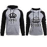 Stephaee Partner Pärchen King Queen Sweatshirt Pärchenpullover Hoodie Damen Herren Kapuzenpullover (Grau, Herren XL +Damen M)