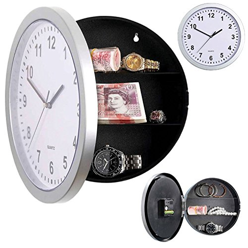 Taylor & Brown® Silver Wall Clock Safe With Secret Hidden Compartment Money Stash Jewellery