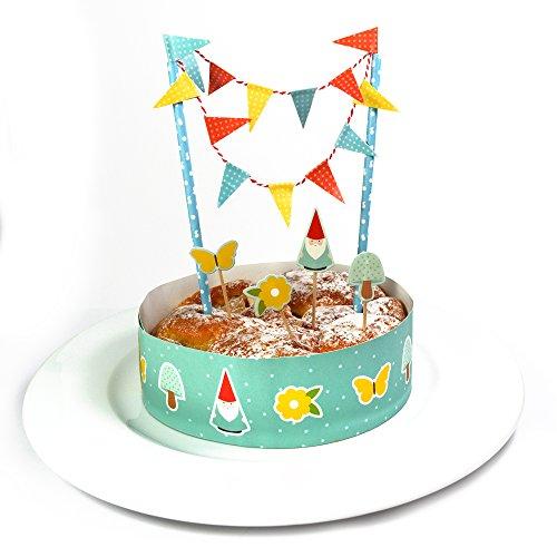 Frau WUNDERVoll® KUCHENDEKO SET GARTENZWERG / Topper, Kuchenstecker, Muffin, Geburtstagskuchen, Dekoration, Deko, Kinder, Party, Hochzeit, Hochzeitstorte, Geburtstag