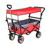 Sekey Chariot de Transport avec Toit Chariot Pliant Chariot de Plage Chariot de Jardin Pliable pour Tous Les terrains,...