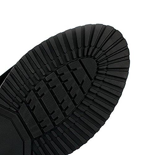 AllhqFashion Damen Blend-Materialien Rund Zehe Hoch-Spitze Stiefel Schwarz-Metallstück