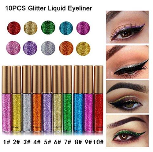 Rechoo con purpurina Liquid Eyeliner 5pcs duradero