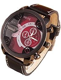 Relojes Hombre,Xinan Análogos de Lujo Deporte Caja Acero del Cuero Cuarzo Reloj Pulsera (Rojo)