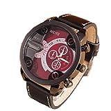 Xinantime Relojes Hombre,Xinan Análogos de Lujo Deporte Caja Acero del Cuero Cuarzo Reloj Pulsera (Rojo)