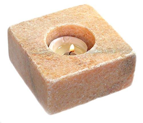 budawi® - Teelichthalter Mandarin calcit Quader 9 x 4,5 cm, Edelstein, Naturstein Kerzenständer