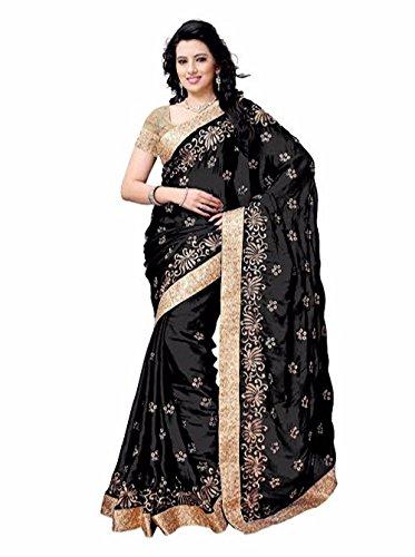 Shailaja Sarees Women's Satin Saree(SSS1120E_Black_Free Size)