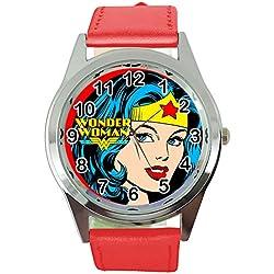 Reloj de Cuarzo Redondo de la Mujer Maravilla de TAPORT® con Correa de Piel roja + batería de Repuesto + Bolsa