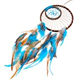 Imixcity Indien Handmade Attrape-rêves Dream Catcher Dentelle Plume Filet Décoration vintage home decor Décoration Ornement Suspendu (Soleil et lune - Bleu)