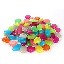 HOMPO®–Lote de 100Canto piedras luminoso un guijarro artificiales decoración camino de jardín acuario maceta Décor paisaje Noctilucent multicolor multicolor