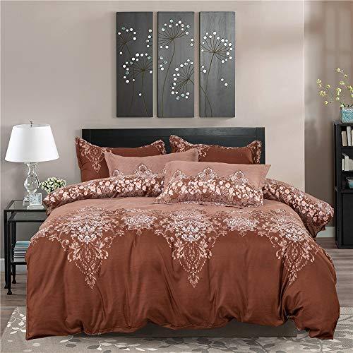 3 Stück Spitze Bettbezug Kissenbezüge Leichtes Mikrofaser-Bettwäsche-Set Einzelgröße Doppelte King Size (Marron, 220 x 240 cm) ()