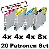 20x Tintenpatronen für Epson Stylus Photo R240 R245 RX400 RX420 RX425 RX520 T0551 T0552 T0553 T0554 - Sparset (8x Black, 4x Cyan, 4x Magenta, 4x Yellow)