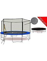 LS-T370-PA12 (BW) LifeStyle ProAktiv - Trampoline de Jardin - 370 cm - 12ft - - Fort Filet de Sécurité - 180kg Capasite - TÜV/GS/CE - Model 2017