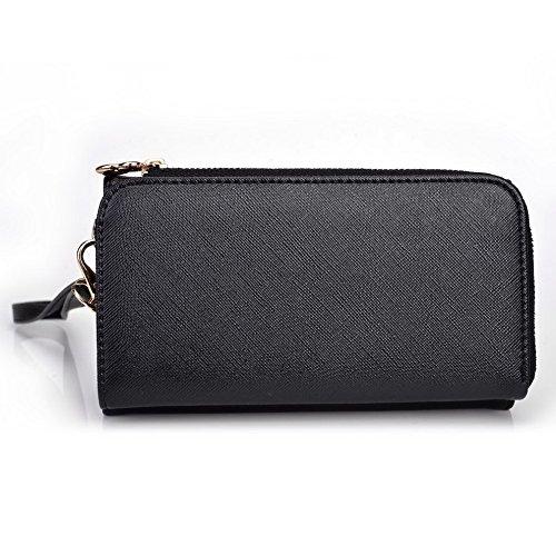 Kroo d'embrayage portefeuille avec dragonne et sangle bandoulière pour Blu Dash 5.5 Noir/gris Black and Violet