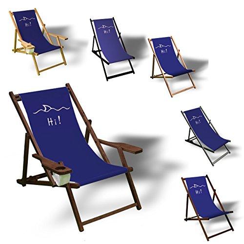 Printalio Hi! - Liegestuhl Bedruckt Balkon Garten Sonnenliege Relax Holz Terrasse | mit Armlehne,...