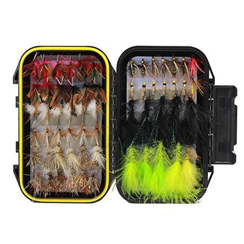 Croch Fliegenfischen Sortiment handgebunden Fliegen Forellen Köder Angel Imitate Kunstköder Saibling mit Wasserdichte Box