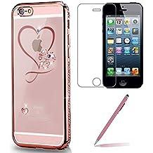 """Custodia iPhone SE/5/5s [Pellicola Protettiva in Vetro Temperato], Yoowei® Chiaro Cristallo Trasparente Ultra Sottile Morbido TPU Gel Case Cover per iPhone SE/5/5s 4.0"""" (Rosa Oro Cuore)"""