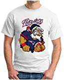OM3® - Patriots Nikolaus - T-Shirt | Herren | American Football Shirt | S, Weiß