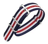 22 millimetri blu/bianco/rosso Premium Deluxe stile NATO robusto nylon sportivo da polso cinturino bracciale da uomo esotico