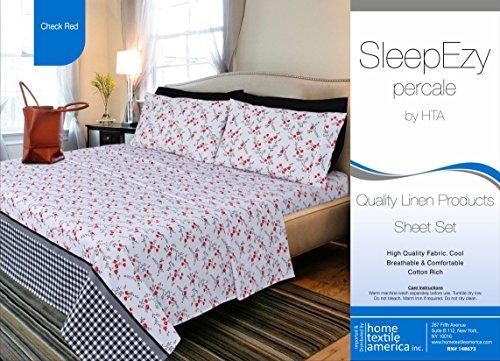 SleepEzy Luxus 6-Teiliges-Bettlaken-Set mit 2Bonus-Kissen, ägyptische Baumwolle Perkal, Voll Gummizug Tief Tasche Spannbetttuch Queen Check Red (Red-queen-blatt Set Tiefe Taschen)