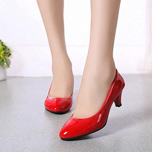 SOMESUN Donne Tacco Basso Ufficio Attività Commerciale Scarpe, delle Signore Eleganti delle Scarpe di Lavoro DUfficio delle Donne della Bocca Poco Profonda di Nude Shallow Mouth Red