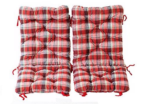 Ambientehome 2er Set Polsterauflage für Klappstuhl, kariert rot, ca 90 x 40 x 8 cm, Kissen Sitzauflage